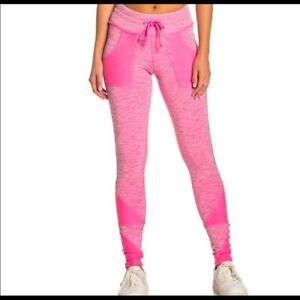 Free People Movement Kyoto Leggings Pants Mid Rise Anklet Hot Pink Small NEW