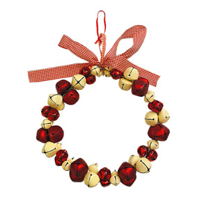 Christmas Wreath Jingle Bells Red White Door Decoration Hanging 10 Inch Ribbon