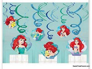 LITTLE MERMAID Party FAVOR Birthday Danglers Swirl Hanging Decorations Princess