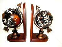 "Brown Tone World Globe Earth Book Ends Wood and Metal 11""x7""x5"""