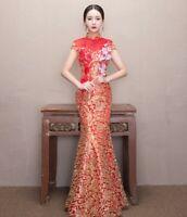 Chinese Cheongsam Evening Prom Wedding Mermaid Dress Ball Gown S-2XL