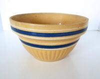 "Vintage Yellow Ware Pottery Mixing Bowl Blue Double Stripes Stoneware 9"" x 5"""
