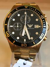 EMPORIO ARMANI AR5857 GOLD STAINLESS STEEL MENS WATCH.