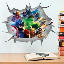 LEGO MOVIE AVENGERS Adesivi Murali Crack Decalcomania Bambini Camera Decorazione Murale Ironman Hulk