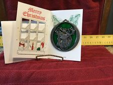 "Vintage John Deere Round ""Deer Stag� Sun Catcher - Nip -In Merry Christmas Card"