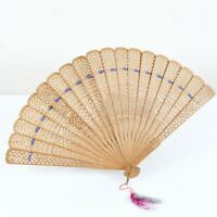 Vintage 1900s Brown Fragrant Wood Carved Asian Silk Ribbon Edwardian Hand Fan