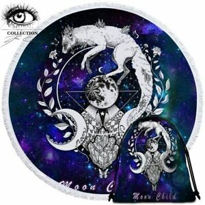 Wolf Galaxy By Pixie Cold Art Round Beach Towel Tapestry Blanket Bath Towel