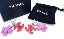 Chanel ✿*゚2004A Hot Red Daisy Shamrock Dangle Drop Earrings.