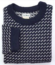LL Bean Vintage Birdseye Sweater Medium Tall MT Blue White Mens Size Wool Blend