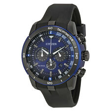 Citizen Ecosphere Eco-Drive Chronograph Blue Dial Black Polyurethane Mens Watch
