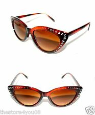 Women's Cat Eye Vintage Sunglasses Brown Frame Metal Studs Punk Rock small 373