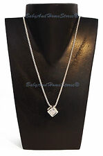 Silver Cube Pendant Necklace With Single Zircon Gemstone + Jewellery Box