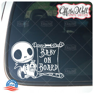 """Baby Jack Character """"BABY ON BOARD"""" Vinyl Decal Sticker [WHITE ONLY}"""