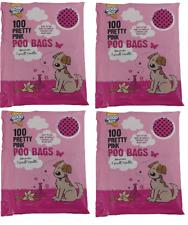 Armitage Good Boy Pink Dog Poo Poop Waste 400 Bags 4 x 100pk- Scented with Tie H
