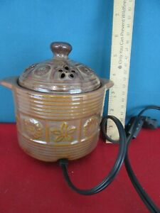 YANKEE CANDLE Electric Tart and Wax Warmer Brown w. Flowers, On Off Switch