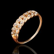 Size 9 Forever Love Present Wheat Rhinestone Gold Plated Ring PM0197