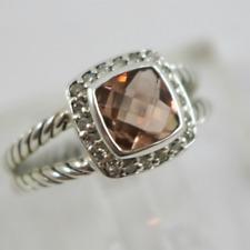 DAVID YURMAN Smoky Quazt Diamond Albion Ring, size 6.75