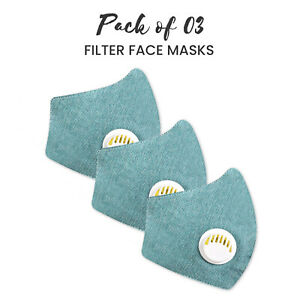 Face Mask Washable Face Masks Cotton Shield Anti Viral & Dust Protect Pack Of 3
