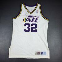 100% Authentic Karl Malone Champion 95 96 Jazz Signed Game Pro Cut Jersey