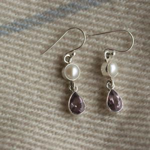 Handmade 925 Sterling Silver Amethyst & Freshwater Pearl Drop/Dangle Earrings