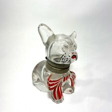 Vintage 1930s French Bulldog Dog w/ Bow Hinged Glass Ink Well Bottle Weisley