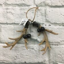 "Christmas Tree Holiday Hanging Ornament Deer Antler Lodge Bells 5"" NEW"