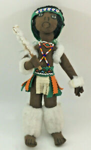 African Musical Wenco Design Doll IPI Tombi Hand Crafted Feather Brown Felt 1974