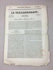 1830 Journal Le Correspondant N°3 9 Mars II année Timbre newspaper révolution