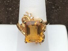 14K YELLOW GOLD CITRINE AND DIAMOND LADIES RING