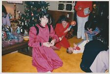 Vintage 80s PHOTO Young Girl On Floor w/ Family Women Baby Christmas Time