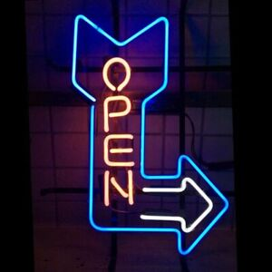New Open Arrow Cafe Bar Neon Sign Light Lamp Game Room Wall Hang Multiple Sizes
