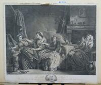 STAMPA ANTICA XVIII SECOLO Jean-Baptiste Greuze Francia XVIII secolo SU CARTA X9