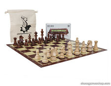 Standard size chess set Tournament Staunton, chess board, timer DGT 2010, bag