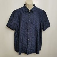 John Varvatos USA Mens Button Up Shirt XXL Blue Black Printed Short Sleeve