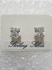 Fine Diamond Stud Earrings Square Stone 925 Solid Sterling Silver Jewellery