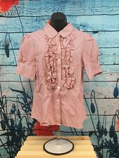 Girls Catch My I Red and White Striped S/S Very Cute Button Up Shirt Size Xl