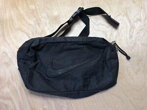 Vintage Nike Fanny Pack Big Swoosh Black on Black