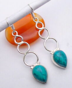 Turquoise Gemstone Jewellery Earring 925 Silver OVERLAY Hand Made 60mm