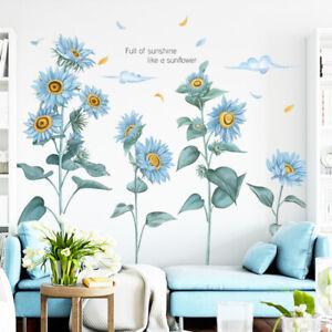 Sunflower Wall Sticker Blue Plant Decals DIY Background Mural Room Decoration