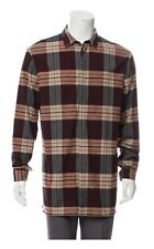 Helmut Lang Mens Burgundy Plaid Flannel Long Hem Button Down Shirt M |A4