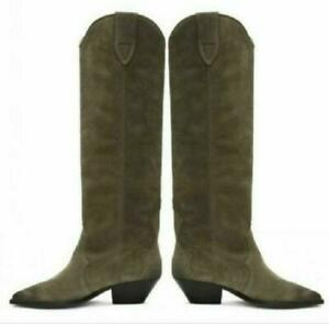 Europe Women's Western Suede Leather Pull On Knee High Boots cowboy Shoes Ladies