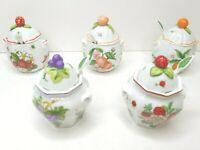 5 VTG Lenox Porcelain 1991 Grape Strawberry Raspberry Orange Peach Jelly Jars