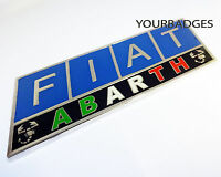 Enamel Chrome Classic FIAT ABARTH Badge Italian Flag Colours Punto 500