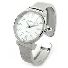 Silver Mesh Style Band Large Dial Easy to Read Women's Bangle Cuff Watch