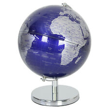 Silver and Blue Metal World Map Rotating Atlas Home Office Study Ornament Globe