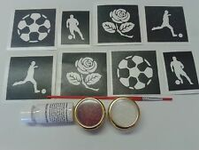English football themed glitter tattoo set    England  rose  players