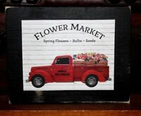 Flower Market Red Truck Primitive Rustic Wooden Sign Block Shelf Sitter 3.5X4.5