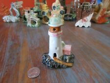 Vintage Ceramic Fish Tank Aquarium Decoration LIGHTHOUSE WITH PINK KEEPERS HOUSE