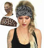 Women Girl Yoga Leopard / Paisley Elastic Headband Head Hair Band Bandana Mask