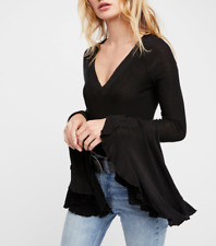 FREE PEOPLE INTIMATELY BLACK BELL SLEEVE SOO DRAMATIC TOP Sz M